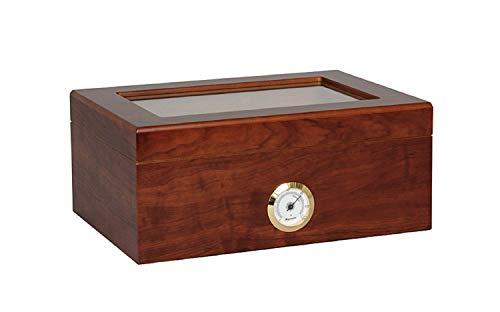 OUTLETISSIMO Cofanetto Porta 50 Sigari Deumidificatore con Igrometro e vetrina in Cristallo