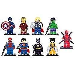 Bela Juego de 9 Figuras de héroes de Marvel DC Minifiguras de Avengers para Hulk, Ironman, Espino, Piscina, Batman, Superman, Capitán América, Wolverine.
