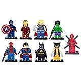 Bela Juego de 9 Figuras de héroes de Marvel DC Minifiguras de Avengers para Hulk, Ironman,...