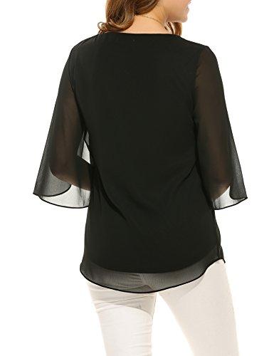 ACEVOG Damen Bluse 3/4 Ärmel Beiläufiger Chiffon Loose Fit Shirt Tops mit Rundhals A Schwarz