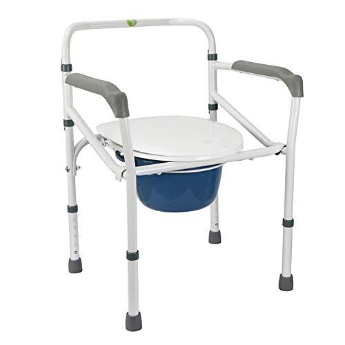 HSRG Fauteuils d'aisance Pliantes Mobiles, avec Seau d'aisance et Garde-Boue, Chaise de Bain Chaise Potty siège de Personnes âgées