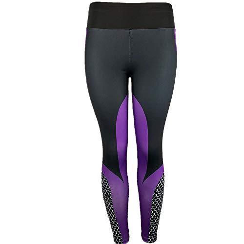 Yoga-Hose für Damen, Pottoa-Yoga-Leggings im 3D-Druck - Skinny Workout Gym Sports Schlanke Trainingshose - Geeignet für alle Jahreszeiten (S, Purple) Purple Flare-hose