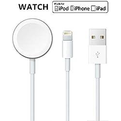 Version mise à jour 2019 Câble magnétique de chargeur de montre pour iWatch 5/4/3/2/1, câble de chargement sans fil 2in1 compatible avec Apple Watch série 5/4/3/2/1 et iPhone 11 Max Pro/XR/XS/XS Max