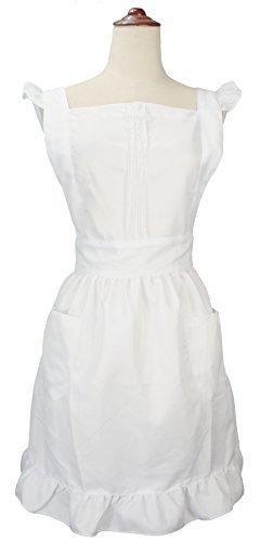 (White) - LilMents Retro Adjustable Ruffle Apron with Pockets, Small to Plus Size Ladies (White)