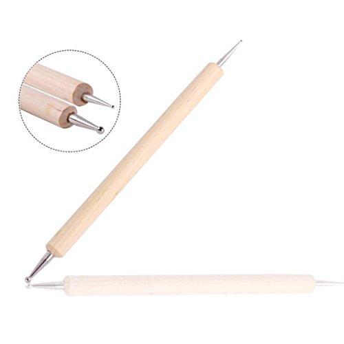 Dojore - Herramienta de madera para pintar, marmolear, dibujar y decorar una sola pieza. Varilla de doble punta, 13 cm de largo. Para decoración de uñas y diamantes de imitación