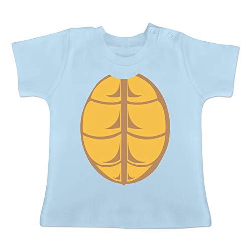 Karneval und Fasching Baby - Kostüm Schildkröte - 1-3 Monate - Babyblau - BZ02 - Baby T-Shirt Kurzarm