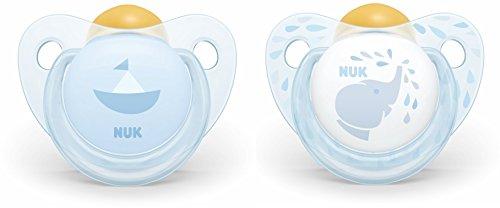 NUK Ciuccio in Lattice Naturale Baby Rose & Blue, Forma Ergonomica, 6-18 Mesi, 2 Pezzi, Blu