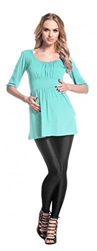 Happy Mama Femme maternité jolie top t-shirt grossesse tunique grossesse 940p Menthe