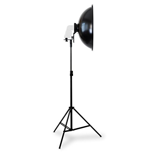 Aluminium Tiefe Wanne (HAUSER & PICARD Beauty Dish Set | 55 cm + Diffusor + Systemblitzadapter + Stativ für Portraitfotografie by eSmart Germany)