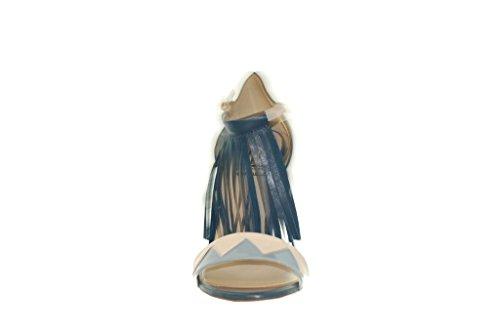 Sandale bleu Haut RIPA Ouvert Bout Franges avec Talon ciel Blanc HARqwdnRUg