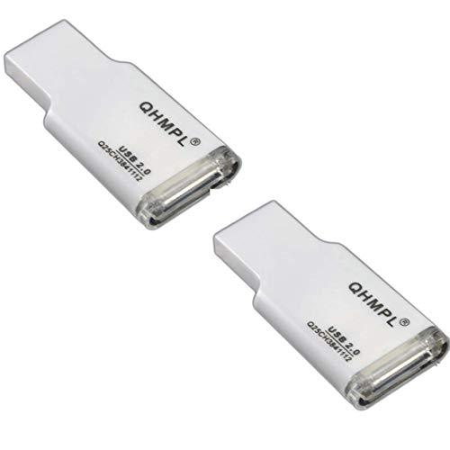 Quantum QHM5165 Micro SD Card Reader 3 in 1 USB Flash Drive (White), Set of 2
