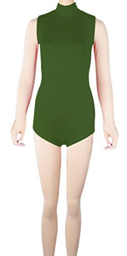 Howriis Unisex Lycra Spandex senza maniche collo alto cerniera posteriore Perizoma Body Body Army Green