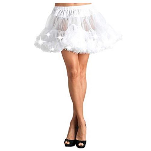 Junjie Frauen Mädchen Ballettröckchen-Rock führte Glühen-Kostüm-elastisches Ineinander greifen-losen Tanzparty Ball Rock Schwarz, Lila,rot, blau, rot, rosa, weiß