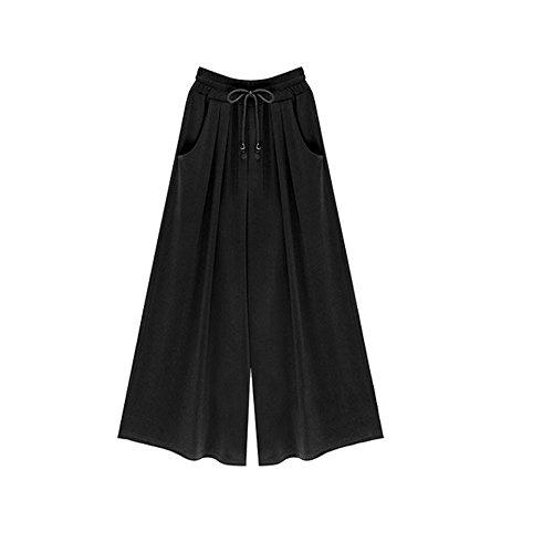 FRAUIT Damen Übergröße Pluderhosen Casual Neun Hosen mit weitem Bein Casual Hosen Elastische Taille Culottes Baumwolle&Leinen Hosenrock Blumenmuster Lange Pumphose Schlabberhose -