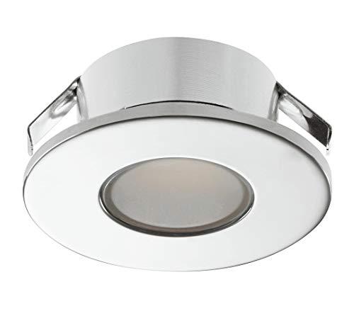 Gedotec LED Möbel-Einbauleuchte verchromt poliert Unterbauleuchte 2022 Spotleuchte rund   Möbelleuchte kaltweiß 4000 K - 12V   LED-Anbauleuchte für Einsatz in Feuchträumen & Badezimmer   1 Stück - Gehäuse In Edelstahl, Möbel