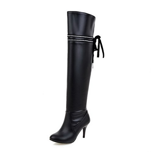 VogueZone009 Donna Cerniera Tacco Alto Luccichio Chiodato Alta Altezza Stivali Nero