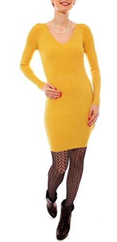 Fragolamoda Damen Winter Feinstrick Kleid Kurz Gerippt Pulloverkleid Rippstrickkleid V-Neck Langarm Enganliegend Einfarbig One Size Curry Gelb