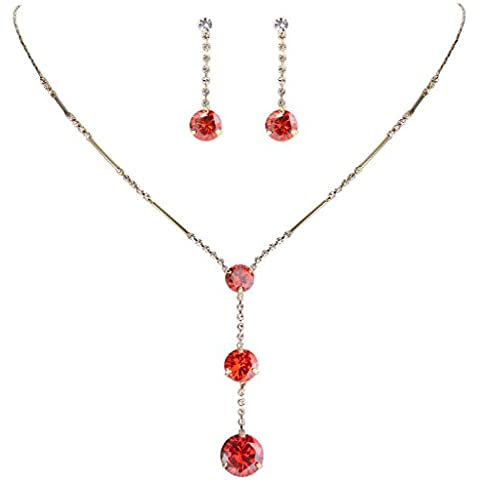 EleQueen Women's Long Ball Round Bridal Necklace Earrings Set Adorned with Swarovski® Crystals