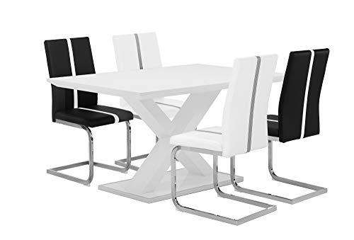 HOMEXPERTS,  Esstisch XAVER,  Moderner Esstisch 120 cm, Esszimmertisch in modernem Design mit gekreuzten Beinen, Tisch in Hochglanz Weiß, Rand der Fußplatte Edelstahl poliert, B