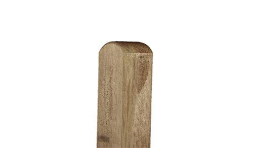 meingartenversand.de Zaun-Pfosten aus Holz ALS Befestigungs-Pfahl im Maß 7 x 7 x 190 cm mit Rundkopf zur Montage eines Garten- oder Sichtschutz-Zauns - Material: Kiefer/Fichte, kdi -