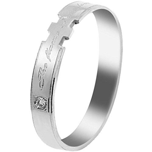 Aooaz Schmuck Unisex Ring,Intarsien CZ Klassische Edelstahl Ehering Verlobungsringe Silber