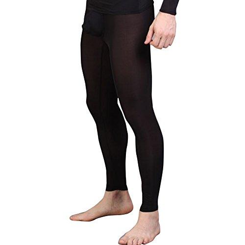 iEFiEL Herren Legging Leggin Lange Unterhose Longjohns Underwear Unterwäsche mit Transparent Effekt (XL, Schwarz)