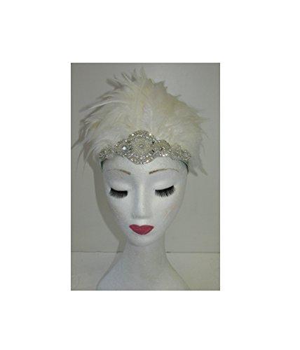Blanc Ivoire plumes Burlesque Coiffe Bandeau ANNÉES 1940 argent style vintage années 1920 T88 * * * * * * * * exclusivement vendu par - Beauté * * * * * * * *