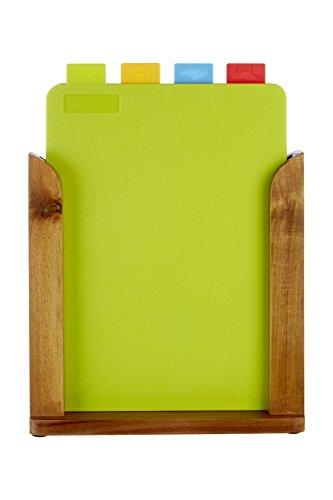 Premier Housewares - Juego de 4 tablas de cortar con soporte (madera)