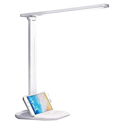 Lampe de bureau à LED, lampes de table oculaires, lampe de bureau à intensité réglable avec port de chargement USB, 3 modes d'éclairage avec niveaux de luminosité, Touch Control, blanc