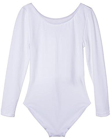 iEFiEL Justaucorps de Danse Classique Col Rond Extensible T shirt Manches longues Enfant Fille 3-12 Ans Blanc 3-4 ans