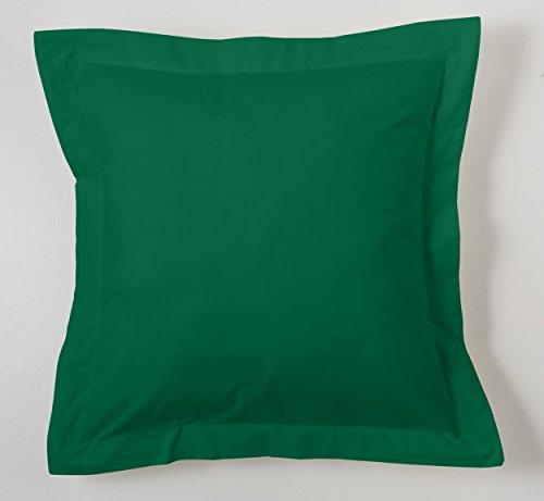 ESTELA - Funda de cojín Combi Lisos Color Verde Billar - Medidas 55x55+5 cm. - 50% Algodón-50% Poliéster...