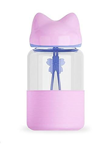 Fox en verre Bouteille d'eau, 300ml ABS Silicone Alimentaire haute Boronsilicon Verre Bouteille de boisson