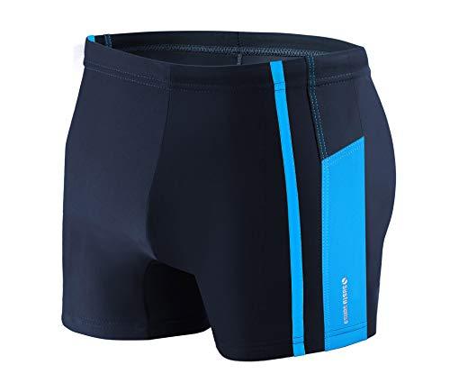Sesto Senso Maillot de Bain Homme Boxer Trunks Shorts Pantalon (Tailles de M à 4XL) Slips Natation de Sport BD 364 (XXL, Bleu)
