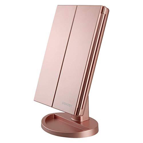 Espejo de Maquillaje con LED, Iluminado Espejo de Mesa Luz con Ampliación 1X / 2X / 3X Plegable Espejo...