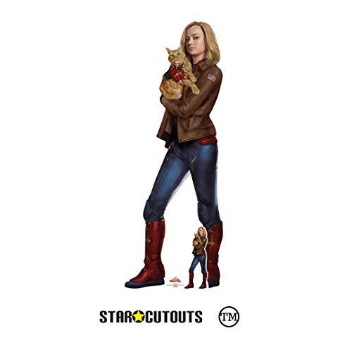 Star Cutouts SC1312 Carol Danvers Brie Larson Captain Goose The Cat Ms Marvel - Figura decorativa de gato con mini cartón recortado, multicolor