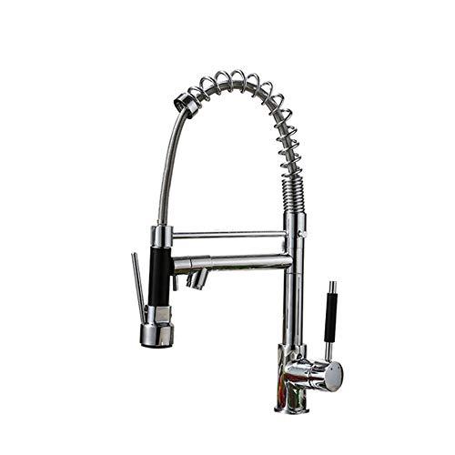 Küche mit Federstab Wasserhahn bleifreien kommerziellen Nickel gebürstet Edelstahl Einhebelmischer mit Pull-Down-Sprinkler Spüle Wasserhahn,Copper - Pull-down-spüle