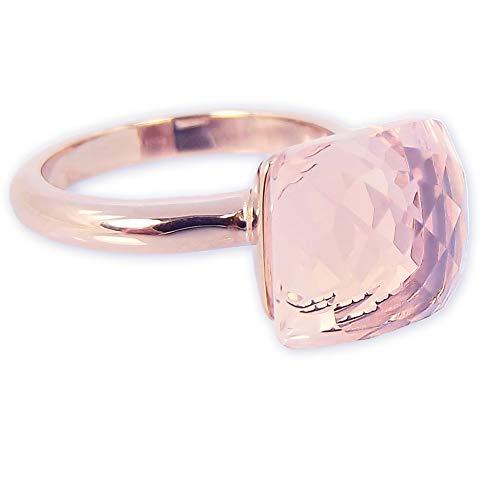 nobel-schmuck Damen-Ring Rosegold Gr. 56 Rosa Kristall Cocktailring