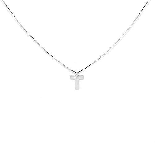 Halskette «ALFABETO» Buchstabe T Kollektion ELEMENTS - Silber Tit. 925/1000 - Komponente H 6,0 mm (variabler Breite) - Hergestellt in Italien (Tiffany Halskette T)