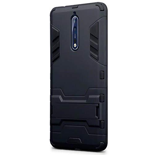 Olixar - Custodia rigida compatibile con Nokia 8, a doppio strato, con cavalletto, colore: Nero