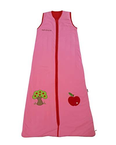 Schlummersack Ganzjahres Kinderschlafsack gefüttert 2.5 Tog in rosa für Mädchen - Roter Apfel - 150 cm / 6-10 Jahre