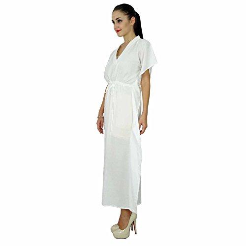 Bimba les femmes caftan à long solide plage de coton doux couvrir caftan maxi Blanc