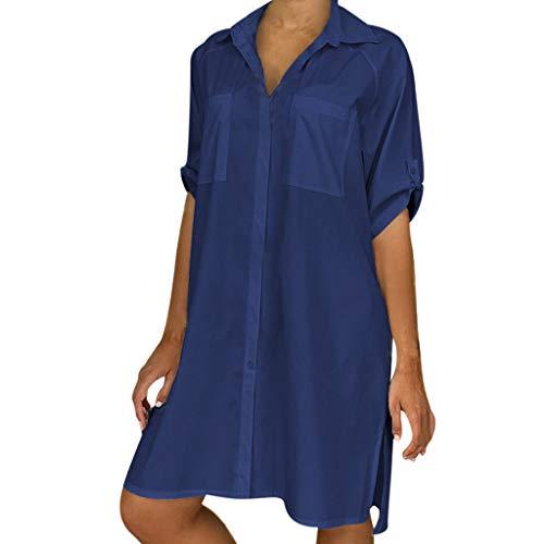 Sommerkleid Damen Cocktailkleid Abendkleid,Einfarbiges Kurzarm-Hemd in Übergröße Lässige V-Ausschnitt Kurzarm Mini Shirt Kleid S-5XL (Sleeve Prom Long Kurze Kleider)