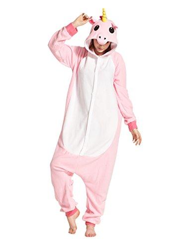 Hstyle Unisex Erwachsene Onesie Anime Kostüm Kigurumi Cosplay Tier Schlafanzug Hoodie Nachtwäsche Pyjamas Rosa Einhorn S