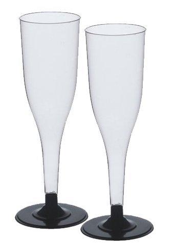 102 Sektgläser 0,1 l PS Einwegsektgläser glasklar mit schwarzem Fuß