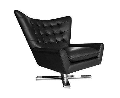 Drehbarer V-förmiger Echtleder Ohrensessel Fernsehsessel Armlehnsessel Lounge Sessel. Abbildung in Leder Schwarz