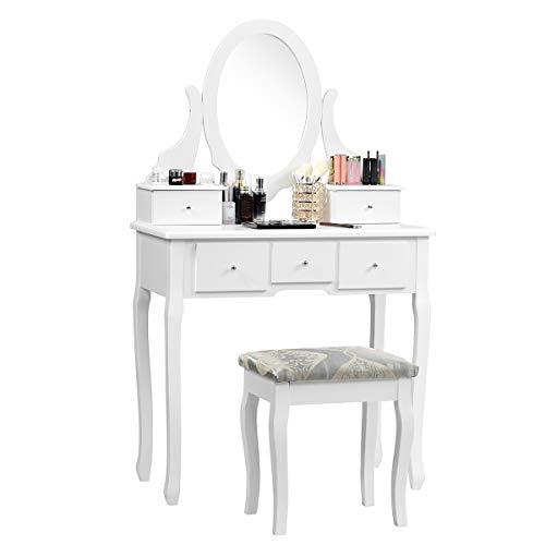 COSTWAY Schminktisch Weiß, Make-up Tisch, Frisiertisch Holz, Frisierkommode, Kosmetiktisch mit Spiegel und Hocker, Schminkkommode mit 5 Schubladen