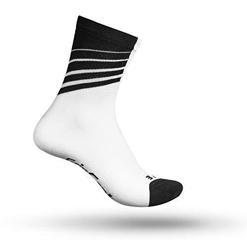 GripGrab Unisex-Adult Racing Stripes Fahrrad Socken, Weiß/Schwarz, M (41-44) - Racing Herren-socken