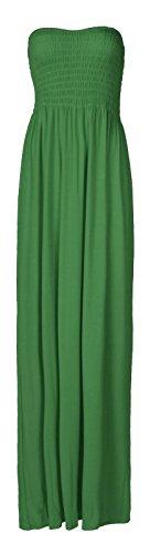 Fast Fashion Damen Maxi Kleid Plus Größe Plain Umführungsvorrichtung Bandeau (Plus Maxi-kleid)