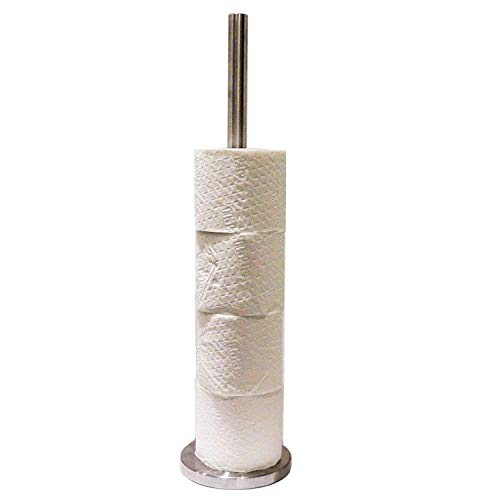esto24 Toilettenpapierhalter aus Edelstahl, 52cm hoch mit Extra Schwerem Standfuß