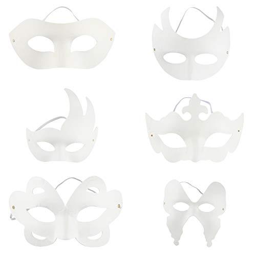 Juvale DIY-Maske - 12 Stück weiße Halbmaske für Halloween-Kostümparty, 6 Designs (Machen Sie Ihr Eigenes Kostüm Frauen)